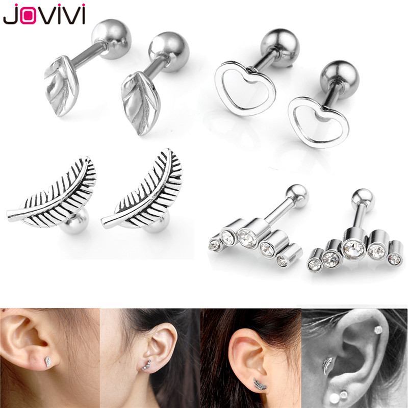 JOVIVI 8pcs Leaves Heart Ear Stud Stainless Steel Barbell Cartilage Tragus Helix Stud Earrings 16G 1/4″ Bar Ear Piercing Jewelry
