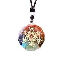 Pendentif en résine de pierre naturelle mélangée, bijoux minéraux colorés, mode Wicca Chakra, énergie de méditation, Quartz pour hommes et femmes