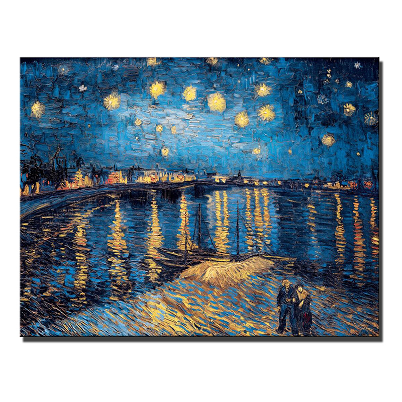 H6094286beaea4e2da137974f94dbad1fN Van Gogh Starry Night Canvas Paintings Replica On The Wall Impressionist Starry Night Canvas Pictures For Living Room Cuadros