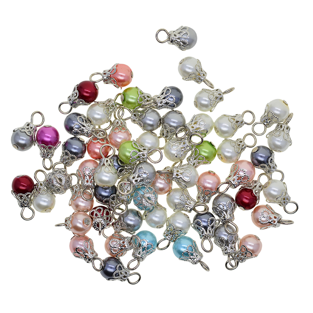 50 Pieces Assorted Color Pearl Filigree Flower Cap Jewelry Charms Pendants