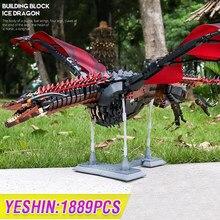 MOC-modelo de dragón Viserion, bloques de construcción, 1691 Uds., Kits de modelos de películas, figuras, juguetes para regalo de Navidad ensamblados educativos