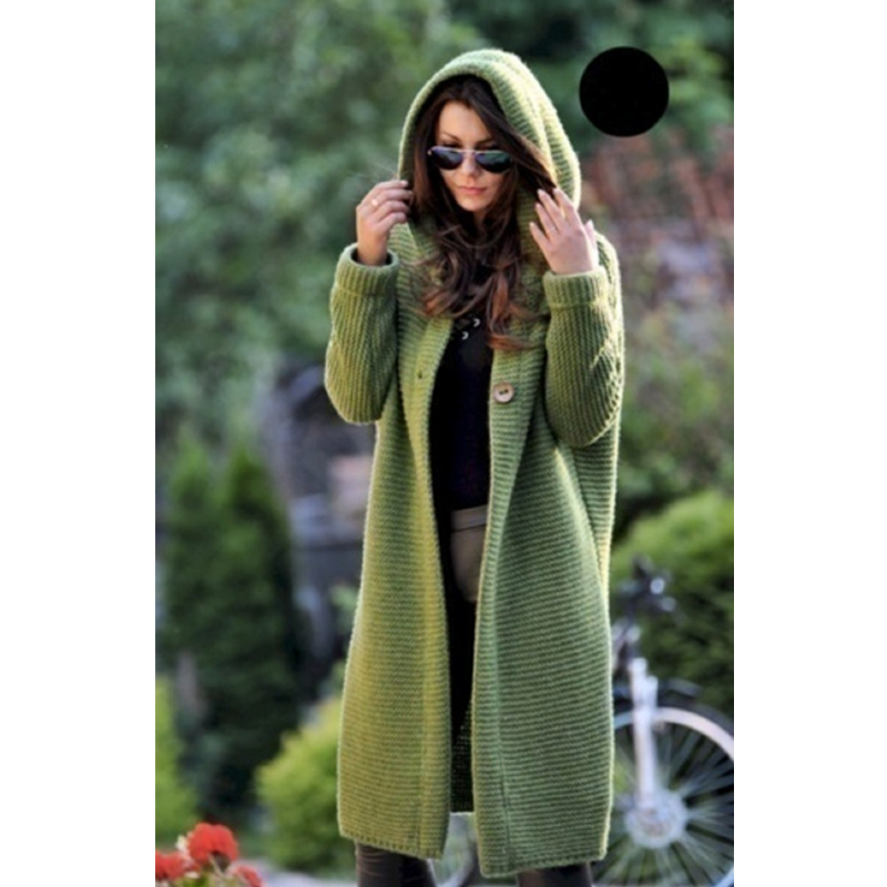 2019 Autumn And Winter Large Size Cardigan Knitted Sweater Women's Coat Medium Length Yellow Green Women Hooded Sweater