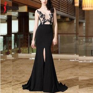 Image 3 - IDress yüksek kalite kadınlar zarif dantel nakış uzun elbise seksi Backless bölünmüş Mermaid akşam Maxi elbise balo parti kıyafeti