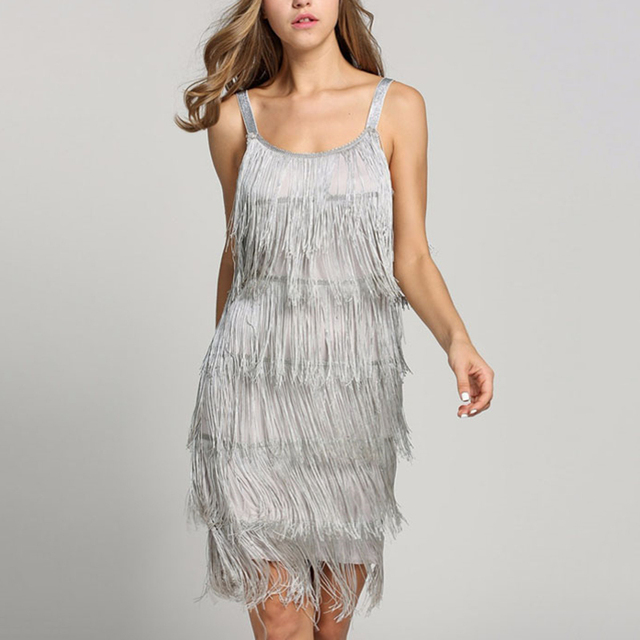Sexy Tassel Dress Women Summer Flapper Beach Dress Strap Low Cut Fringe Black Silver White Short Fringe Party Dresses Bodycon