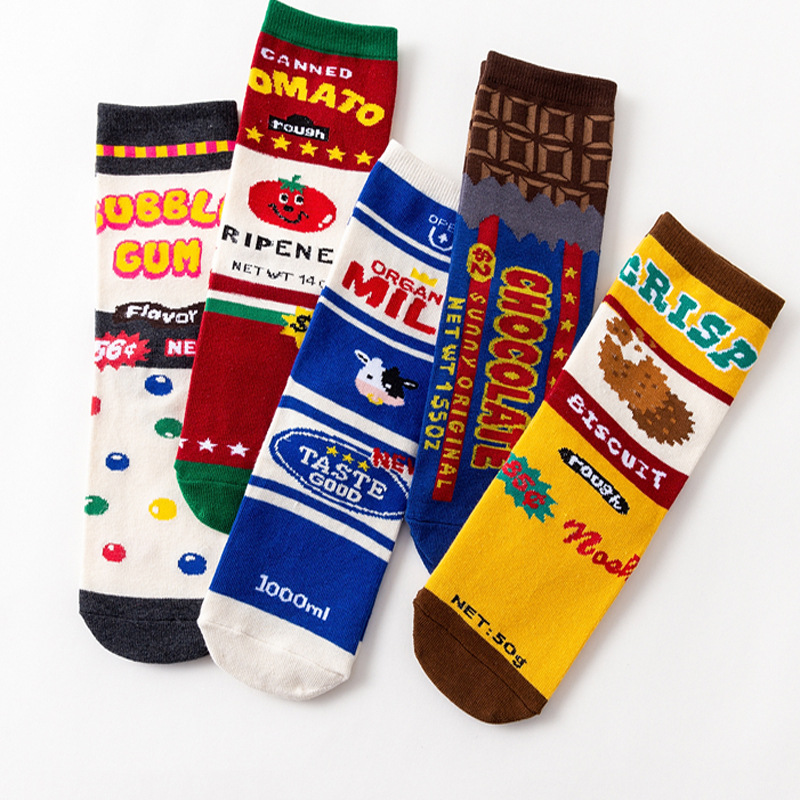 1 Pair Fashion Women Sock Funny Cute Cartoon Snack Milk Biscuits Chocolates Tomato Food Happy Japanese Harajuku Skateboard Socks