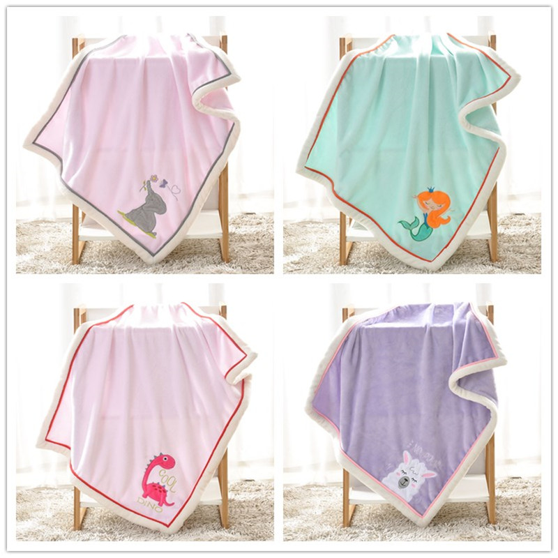 Newborn Baby Blanket Children's Cartoon Animal Flannel Blankets Kids Swaddle Nap Thermal Blankets For Baby Warp Bedding Blanket