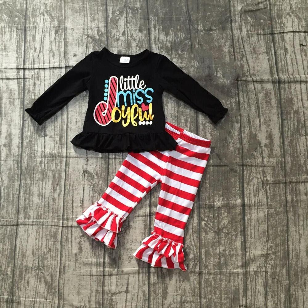 Special Offer Girlymax Christmas Fall/Winter Baby Girls Clothes Children Cotton Boutique Outfits Ruffles Pants Set Skirt 4