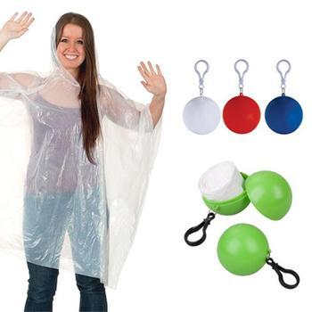 Portable Rain Coat Hooded Poncho Rainwear Keyring Ball Disposable Emergency Outwear Raincoat For Outdoor High Quality Raincoats