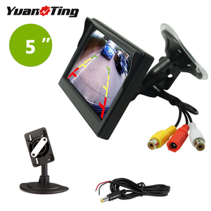 YuanTing 5 Inch TFT LCD Car Color Rear View Monitor Screen 12-24V for Parking Rear View Backup Camera with 2 Optional Bracket