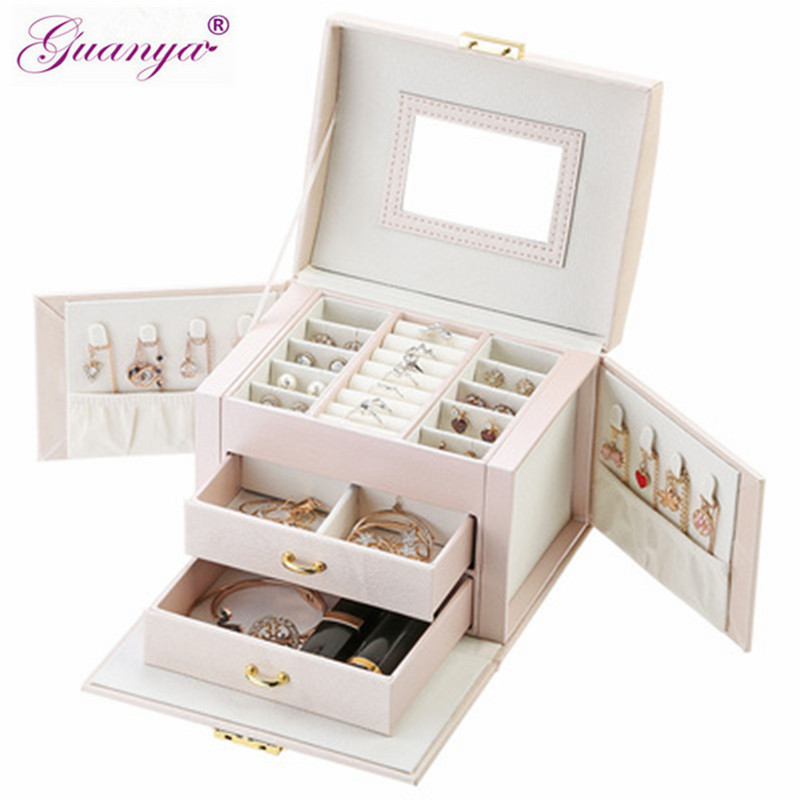 Guanya New Jewelry Box Large Capacity Leather Storage Jewelry Box Earring Ring Necklace With Mirror Watch Jewelry Organizer