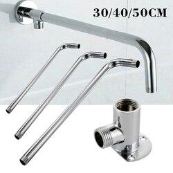 Braço de chuveiro de parede cabeça de chuveiro tubo extensão 30 cm/40 cm/50 cm suporte de braço aço inoxidável para casa banho acessórios