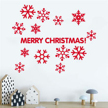 Snowflake Wall Stickers For Kids Rooms Christmas Wall Stickers Window Decorative Stickers Muraux Pour Enfants Chambres 30OCT16(China)
