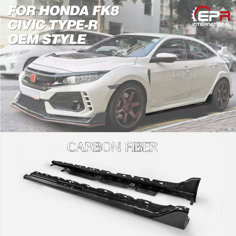 Front Side Skirt White Painted Trim 2 Pc Honda Civic Fc 4 Doors 2016-2017