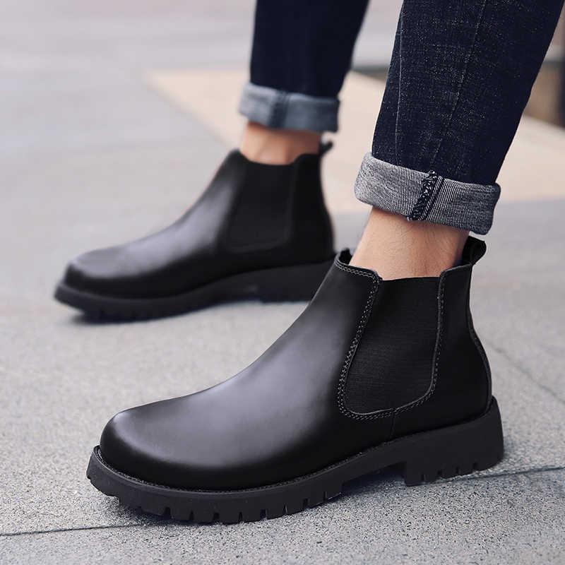 Chelsea Boots de Couro Rachado Do Couro Estilo Britânico dos homens de outono Inverno Quente de Pelúcia Tornozelo Botas Brogues Calçados Casuais De Alta Topo
