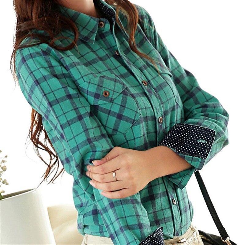Autumn Slim Flannel Plaid Blouse Women Korean Turn-down Collar Long Sleeve Cotton Shirts Tops