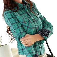 Autumn Slim Flannel Plaid Blouse Women Korean Turn-down Collar Long Sleeve Cotton Shirts Tops