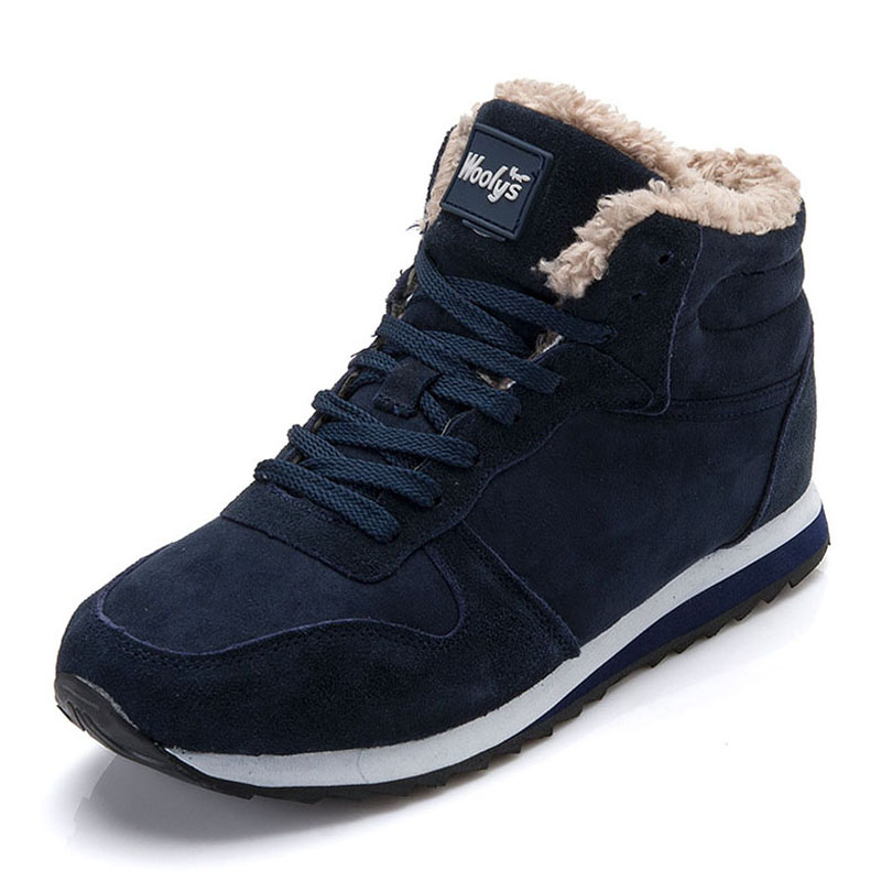 Winter Shoes Vulcanized-Shoes Snow-Boots Suede Male Non-Slip Lace-Up Ankle Men
