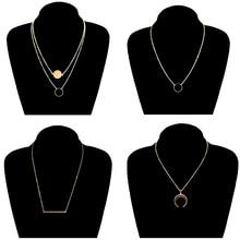 4 Pcs/ Set Fashion Gold Color Alloy Moon Pendant Necklace Round Circle Sequins Clavicle Long Chain Necklace for Women round pendant chain necklace set 2pcs