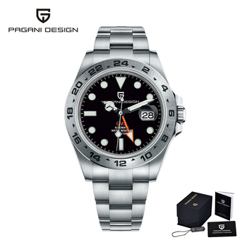 2021 PAGANI Design New Men's Automatic Mechanical Watches GMT Watch 42mm Sapphire Stainless Steel Waterproof Watch Reloj Hombre - Silver-black, Poland