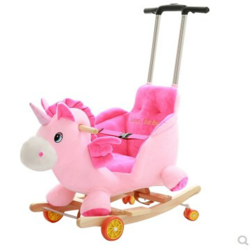 Baby Rocking Chair Baby Toy Solid Wood With Music Pull Lever Rocking Car First Birthday Gift