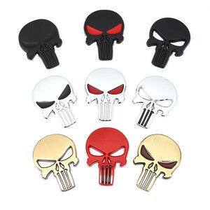 3D Metal Skull Head Car Stickers Emblem Badge Decals for The Punisher BMW Audi Ford Chevrolet Honda Hyundai Kia Focus VW Styling