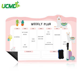 Cartoon Magnetic Calendar Fridge Magnet Whiteboard Sticker Work Study Daily Weekly Planner Dry Wipe Writing Record Message Board