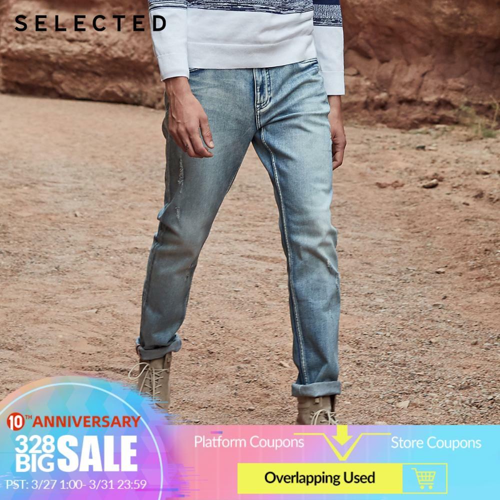 SELECTED Men's Cotton-blend Denim Pants Lycra Slight Stretch Fading Jeans C|419132504