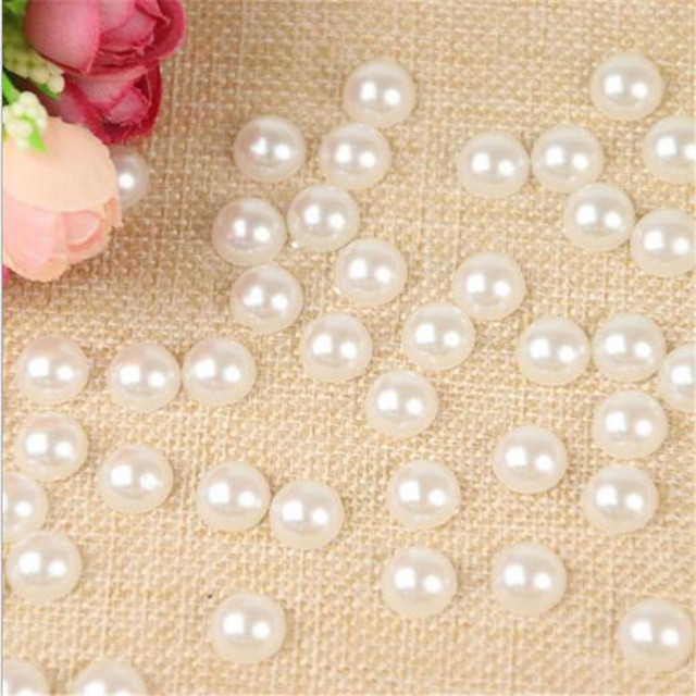 300pcs 4/6/8/10/12/14mm White Half Pearl Beads  DIY Imitation Garment Beads Pearl ABS Half Round Beads Craft Scrapbook Beads