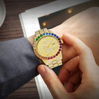 MISSFOX Rainbow Diamond Bezel Bling Bling Rolexable Men Jewelry Watches Roman Numeral 18K Gold Analog Quartz Iced Out Watch
