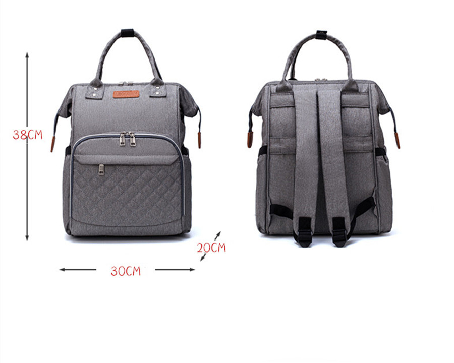 H60958e2c956f4fd0a2048b5e22ff325cy LEQUEEN Diaper Bag Pure Color Men's Mummy Baby Care Nappy Bag 44CM Large Capacity Waterproof Business Backpack Travel Bag