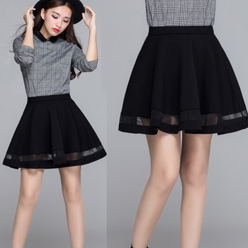 Autumn Women Sexy High Waist Skirt Solid Color Hollow Mesh Pleated Mini Preppy Style Skirts
