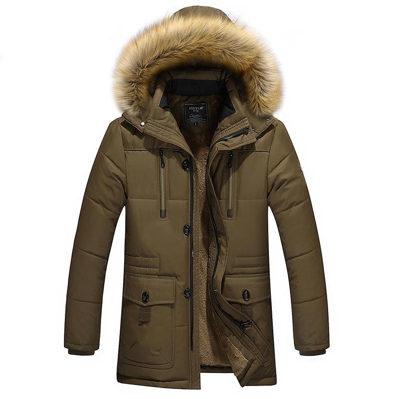 Hooded Winter Men Duck Down Jacket Big Fur Collar Long Sleeve Snow-outwear Thicken Warm Coat Outdoor Overcoat Big Size 3XL-5XL