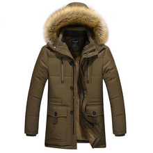 Hooded Winter Men Duck Down Jacket Big Fur Collar Long Sleeve Snow-outwear Thick