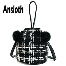 Ansloth Wool Bucket Bag Women Hairball Shoulder Ladies Winter Small Crossbody Female Solid Color Handbag HPS708