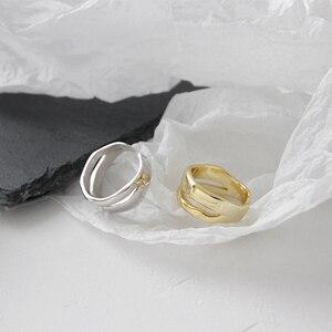 Image 3 - Bagues irrégulières en Argent Sterling coréen pour femmes, redimensionnables, bijou fait à la main, bijoux 925