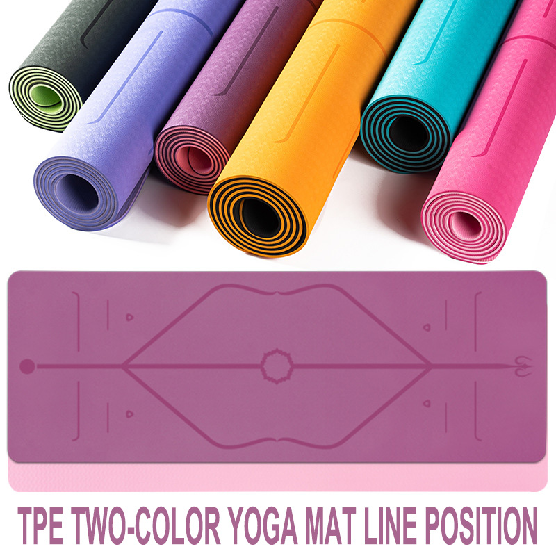 Tpe Yoga Mat With Position Line Fitness Gymnastics Mats Double Layer Non-slip Beginner Sport Carpet Pads 1830*610*6mm Women Mats