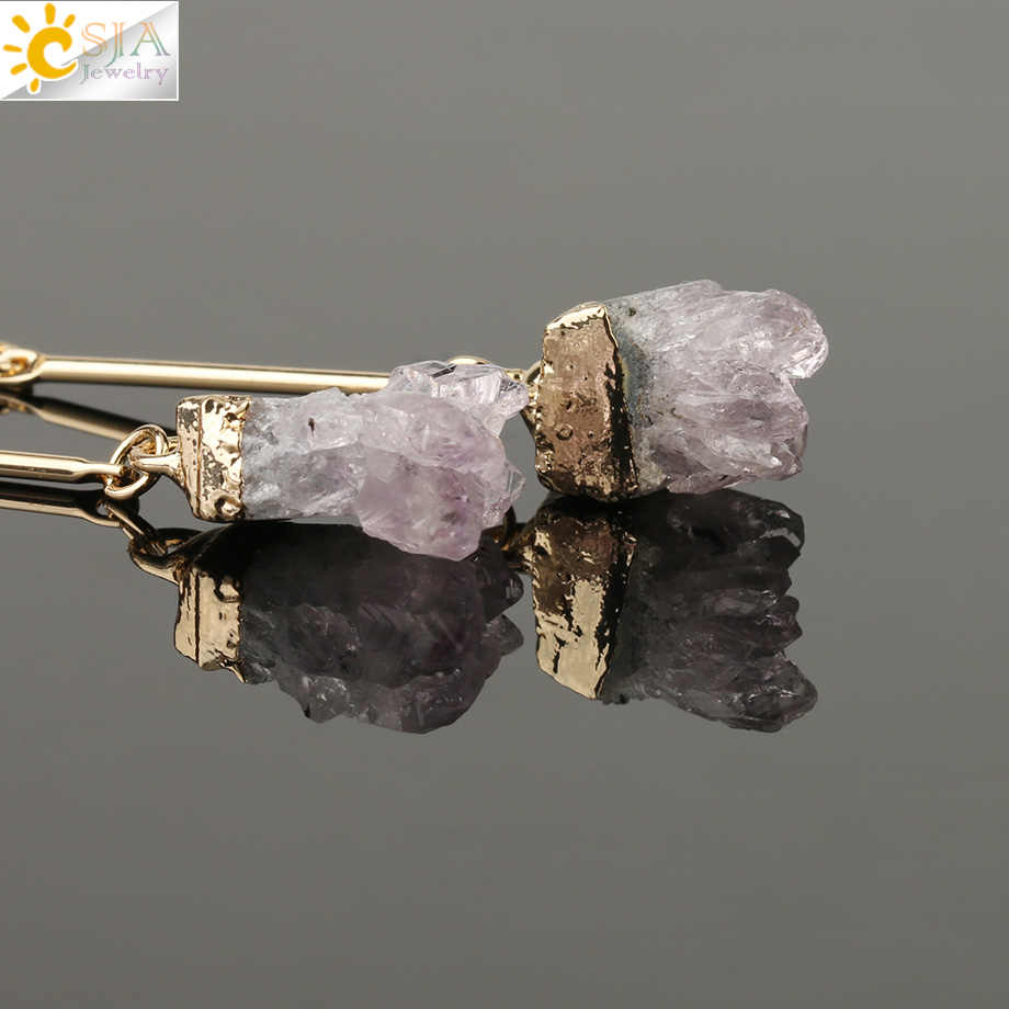 CSJA ブランドジュエリー天然水晶ドルーゼン宝石ジュエリー女性はバックイヤリング不規則な石の魅力をちらつか Brinco F408