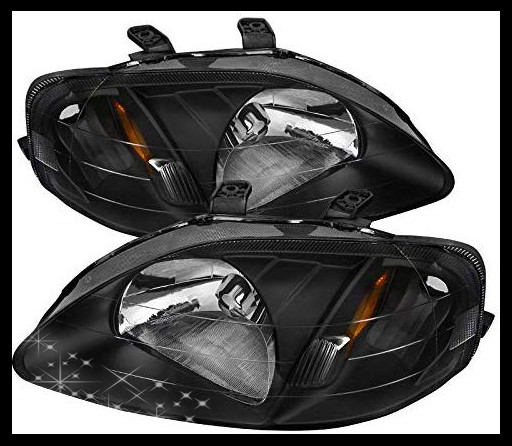 Sulinso Fit For 99-00 Honda-Civic Replacement JDM Black Headlights Head Lamps Left+Right
