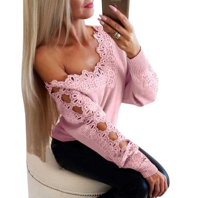 Off Shoulder Women Shirt Tunic Sexy Slash Neck Long Sleeve Lace Blouse Harajuku Autumn Ladies Hollow Out Tops SJ3925V 1