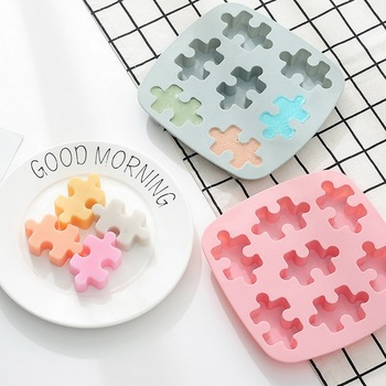 Ice Cube Tray Mold Puzzle Shape Silicone DIY Handmade Soap Jelly Molds Chocolate Cake Decorating Tools Candy Cake Mould #25 stereo strawberry chocolate cake mold handmade soap silicone molds