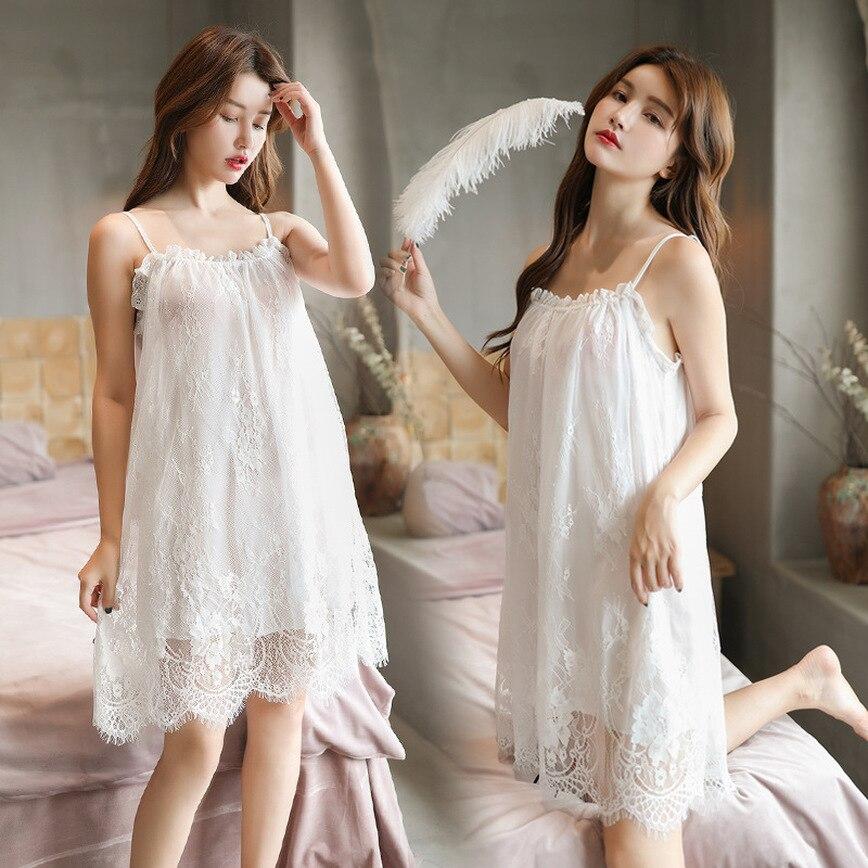 Sexy Lace Gauze Nightdress Lace Strap Nightdress Lightweight Double Eyelash Gauze Nightdress