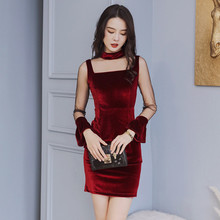Autumn Winter Long Sleeve Soft Zipper Wrap Velvet Mini Dress Mesh Patchwork See Through Women Sexy Bodycon Dresses Ladies