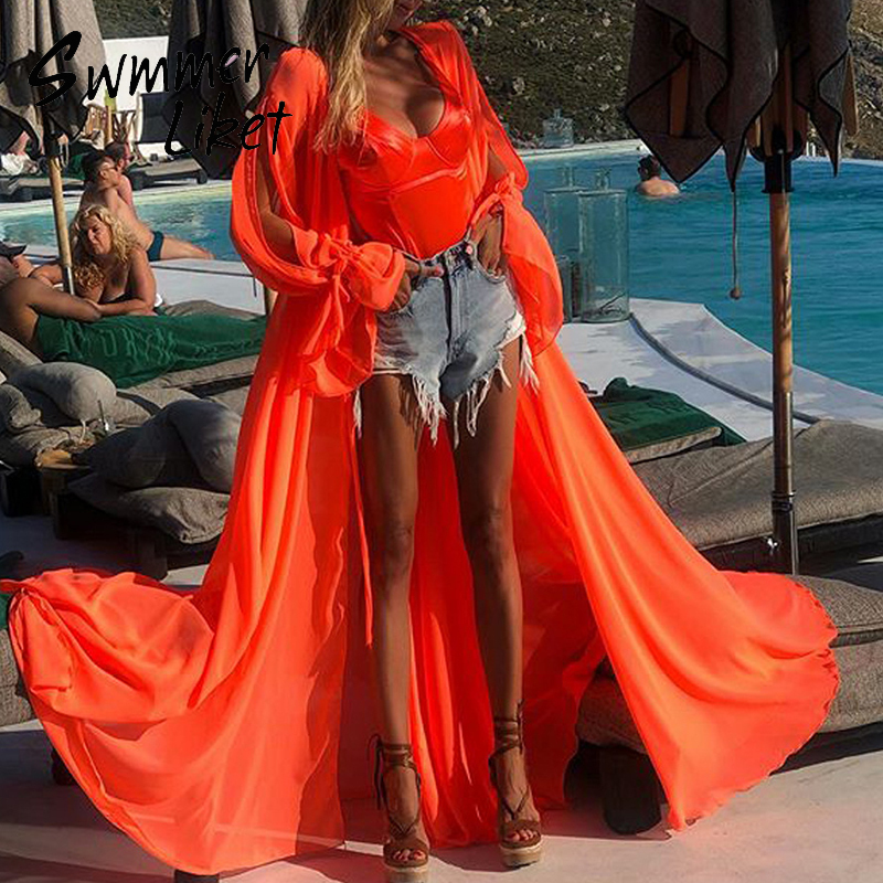 Summer Long Sleeve Cover Ups 2020 Orange Beach Wear Dress Women Tunic Swimsuit Cover Ups Female Kimono Bathing Suit Plus Size