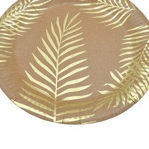 Image 5 - Conjunto para mesa de papel Kraft desechable, color dorado, placa con patrón de hoja de palma, taza, toalla de papel, paja, fiesta, boda, cumpleaños, cubiertos