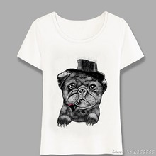 Hipster Cool Smoking Black Dog T-Shirt Summer Fashion Women Short Sleeve Funny Pug Art Casual Tops Girl t-shirt Tees Harajuku(China)