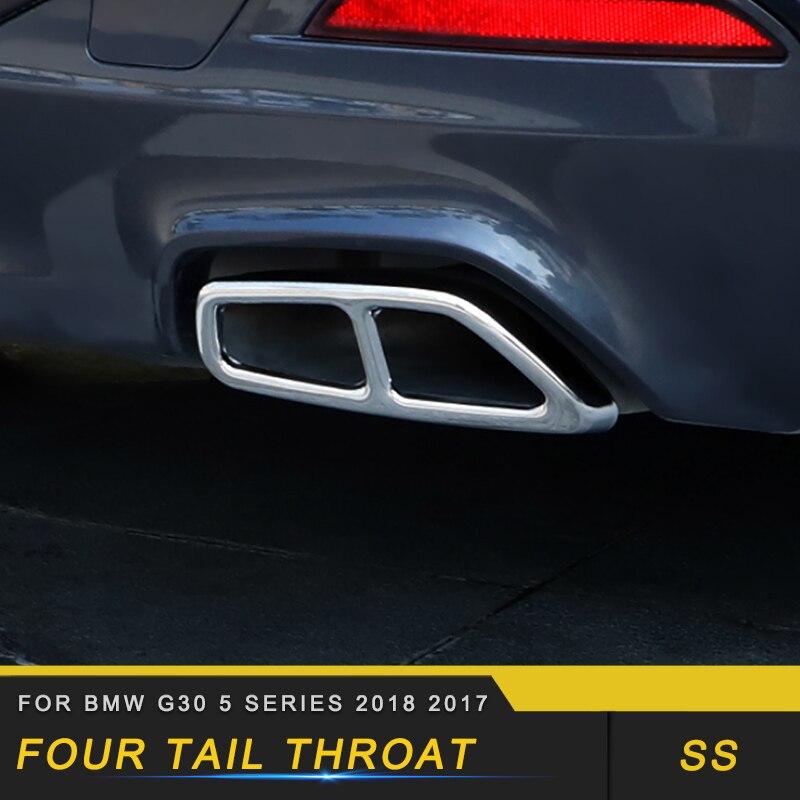 Pour BMW G30 5 Series 2018 2017 voiture style queue tuyaux d'échappement tuyau silencieux cadre couverture garniture autocollant accessoire extérieur