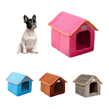 Pet Dog House Foldable Bed With Mat Soft Winter Leopard Dog Puppy Sofa Cushion House Kennel Nest Dog Cat Bed Small Medium Dogs hot dog house nest with mat foldable pet dog bed cat bed house for small medium dogs travel pet bed bag product