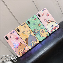 Lovely Bear Brown Bunny Cony Cute Cartoon Blu-ray IMD Phone Case For iPhone 6 6s 7 8 Plus 10X XS MAX XR Back Cover Fundas Coque