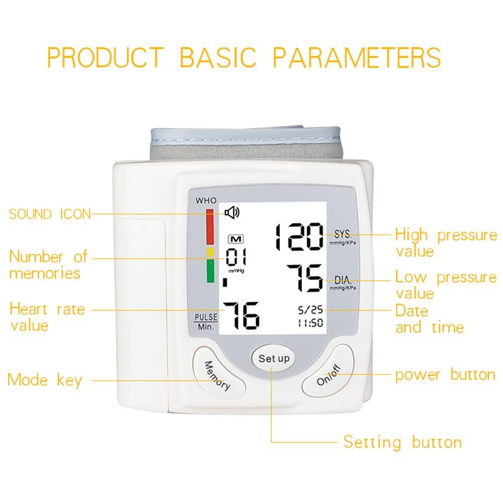Automatyczny ciśnieniomierz nadgarstkowy cyfrowy LCD mankiet na nadgarstek ciśnieniomierz opieki zdrowotnej maszyna z certyfikatem CE