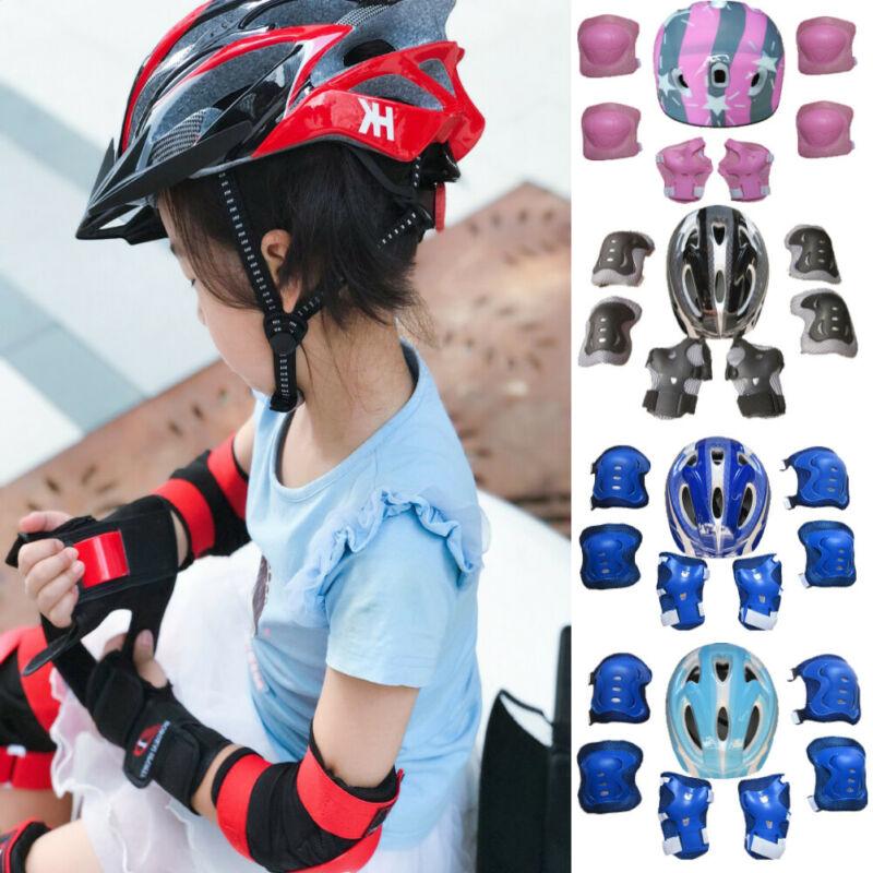 7Pcs//Set Children Kids Safety Helmet Knee Elbow Pad Cycling Skate Bike Boy Girl